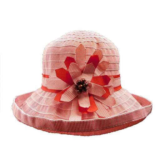 Striped Ribbon Hat with Big Flower - SetarTrading Hats