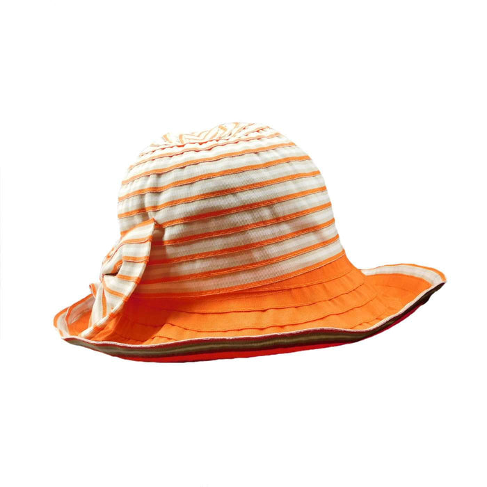 Striped Orange and White Shapeable Brim Summer Hat - SetarTrading Hats