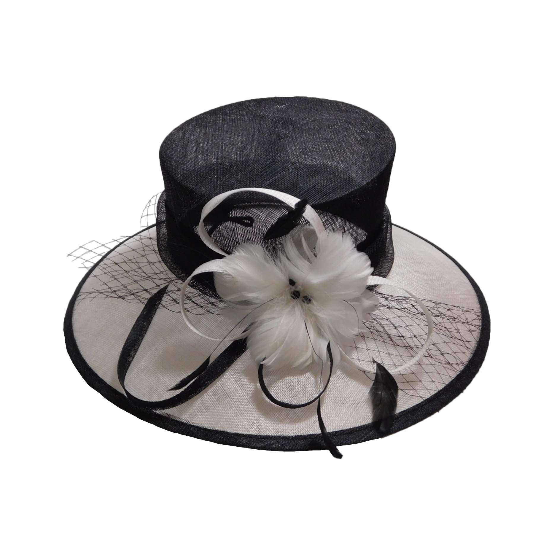 Black and White Sinamay Hat  5d8bbc6415e
