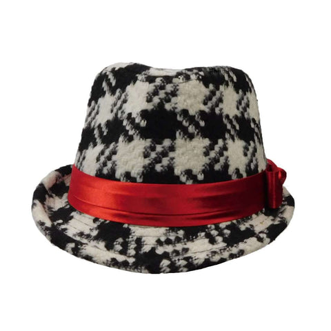 Girl's Black and Ivory Houndstooth Fedora