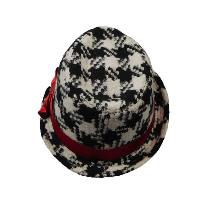 Girl's Black and Ivory Houndstooth Fedora - SetarTrading Hats