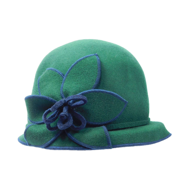 Structured Brim Cloche with Big Flower Accent - SetarTrading Hats