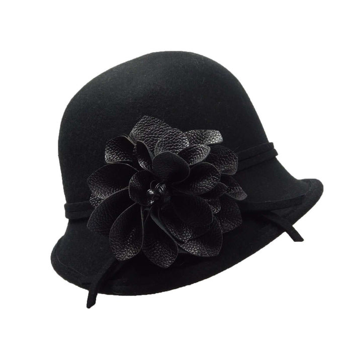 Asymmetric Cloche with Leather Flower - SetarTrading Hats
