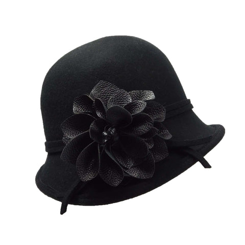 Asymmetric Cloche with Leather Flower