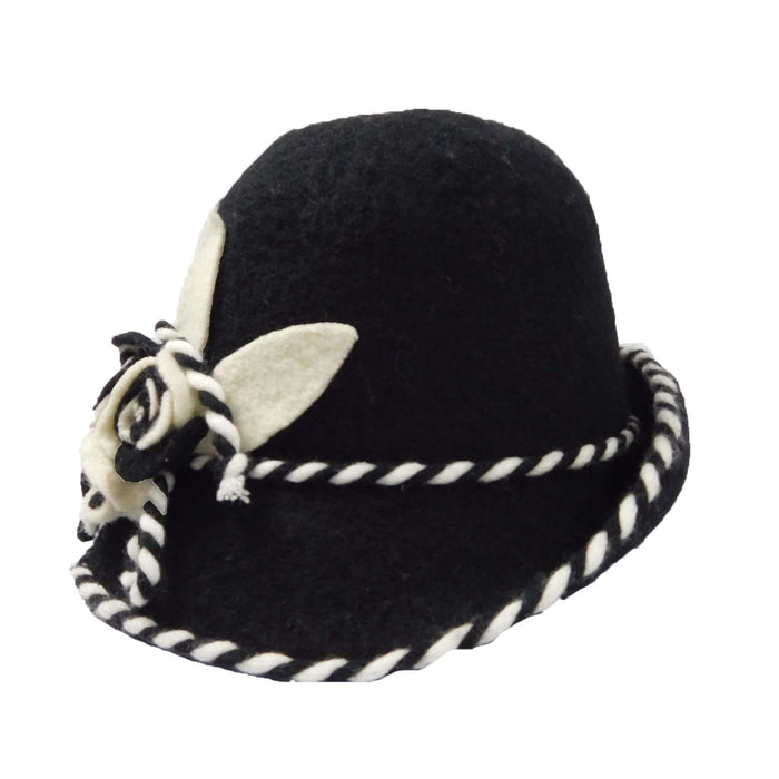 Boiled Wool Bucket Hat with Large Flower Accent - SetarTrading Hats