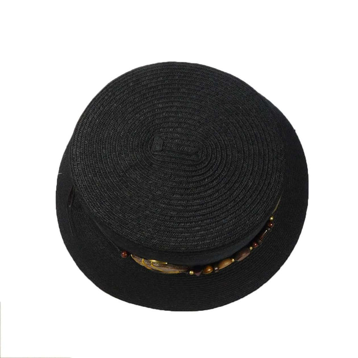 Black Summer Hat with Wood Beads - SetarTrading Hats
