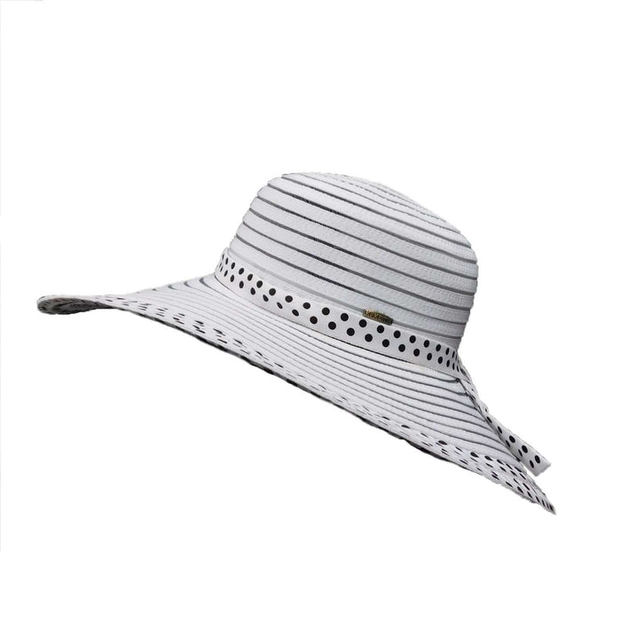 Polka Dot Ribbon and Mesh Floppy Hat - SetarTrading Hats