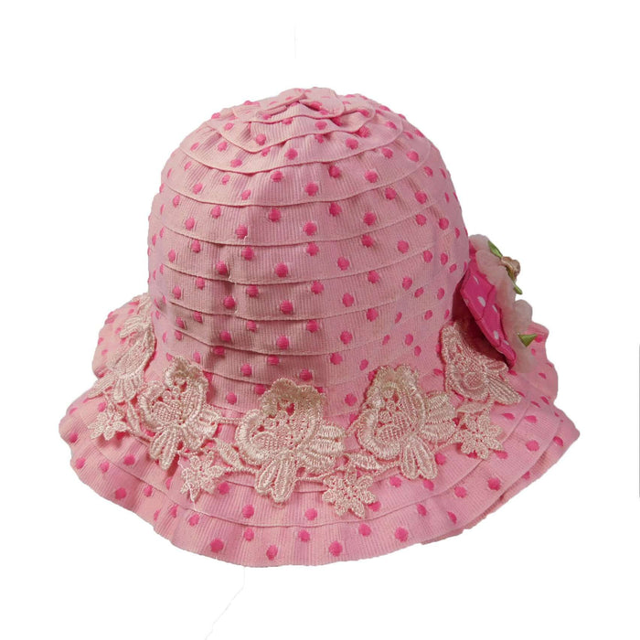Pink and Fuchsia Polka Dot Summer Hat- Toddler - SetarTrading Hats