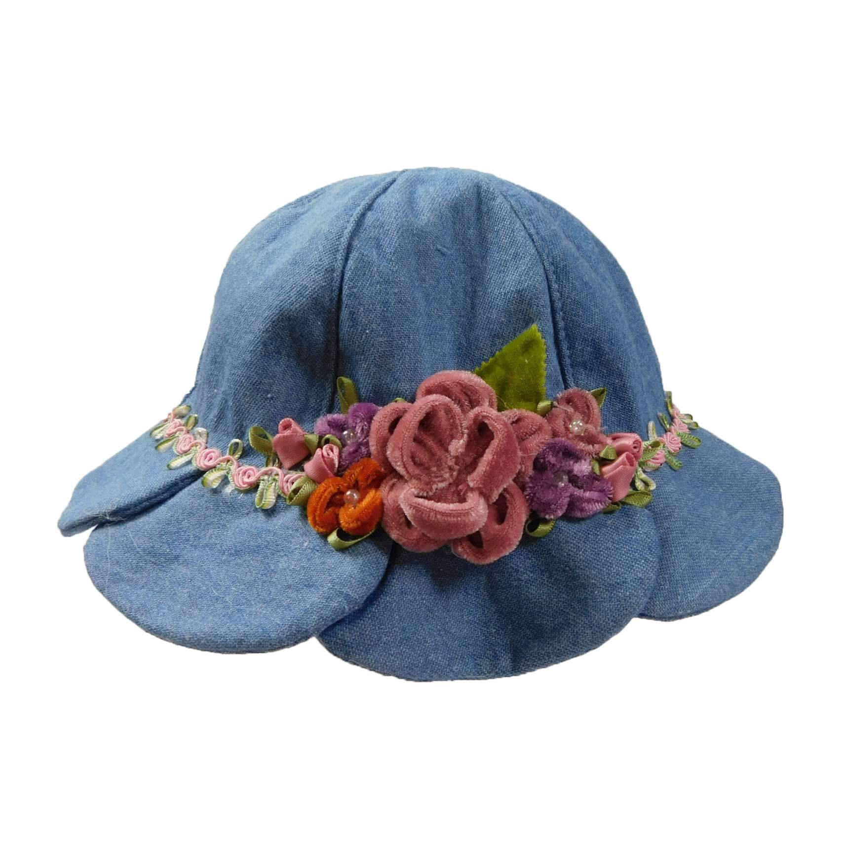 Denim Summer Hat with Velvet Flowers - SetarTrading Hats