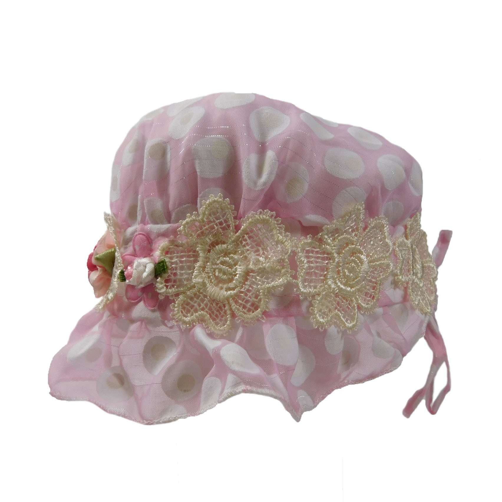 Polka Dot Bonnet with Lace and Silk Decoration - SetarTrading Hats