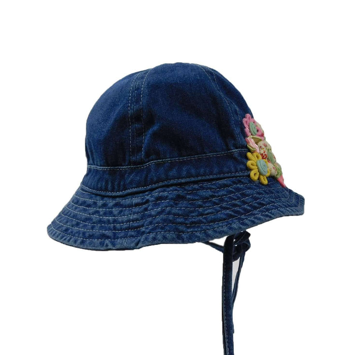 Denim Bucket Hat with Patchwork Flowers - SetarTrading Hats