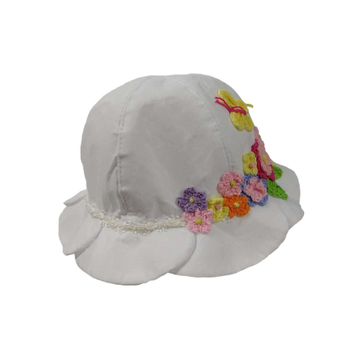 White Summer Hat with Crochet Flowers - SetarTrading Hats