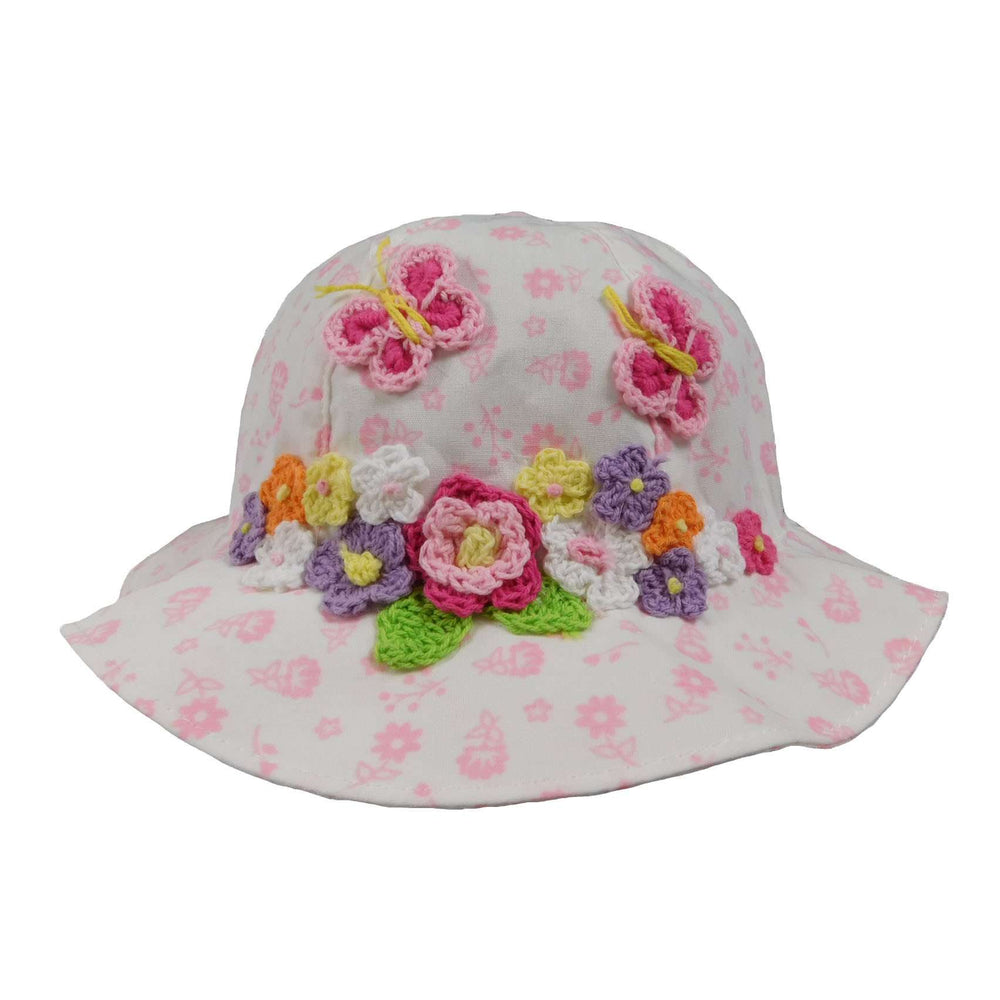 Pink and White Summer Hat for Baby Girls - SetarTrading Hats