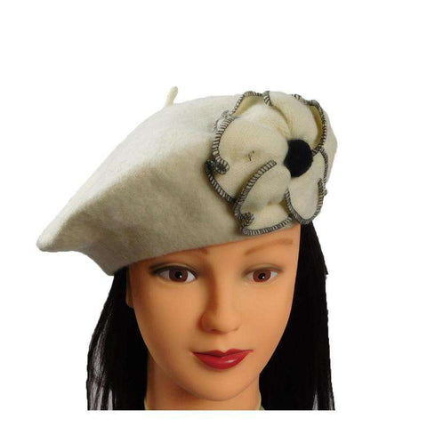 Wool Beret with Flower by Boardwalk