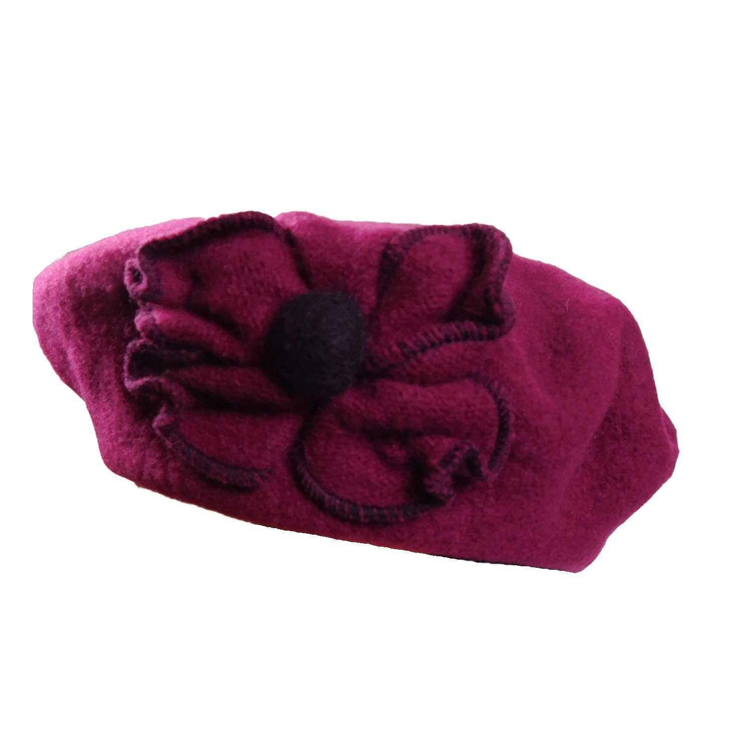 Wool Beret with Flower - SetarTrading Hats