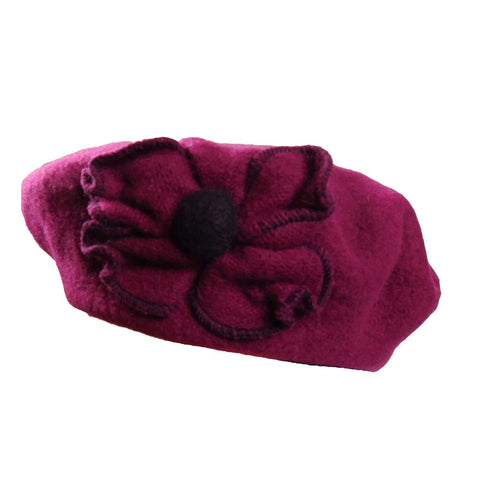 Wool Beret with Flower