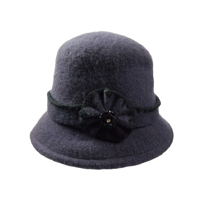 46e82eaa71d Boiled Wool Bucket Hat with Flower and Rhinestone Button - SetarTrading Hats