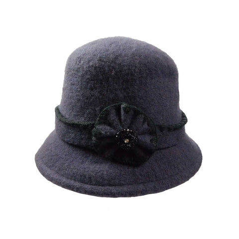 Boiled Wool Bucket Hat with Flower and Rhinestone Button