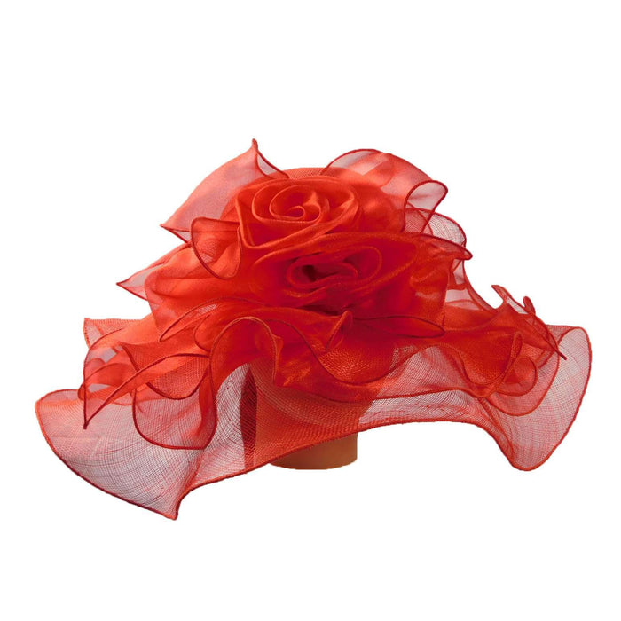 Sinamay Hat with Ruffle Flower Accent - SetarTrading Hats