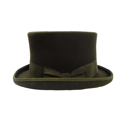 Classic Tall Olive Wool Felt Top Hat by JSA for Men