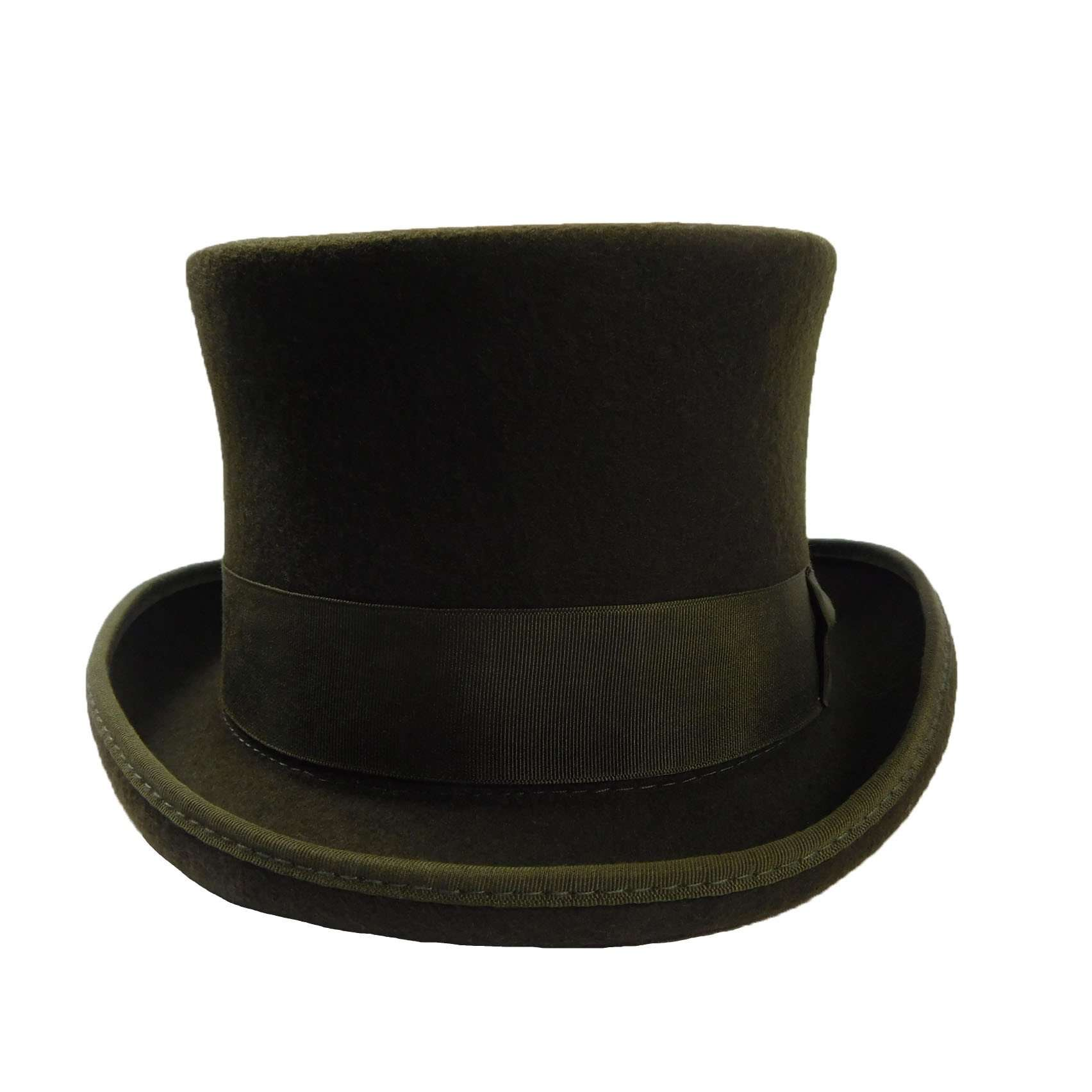 Classic Tall Olive Wool Felt Top Hat by JSA for Men - SetarTrading Hats