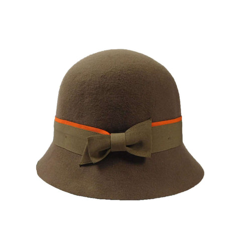 Wool Felt Cloche with Two-Tone Band