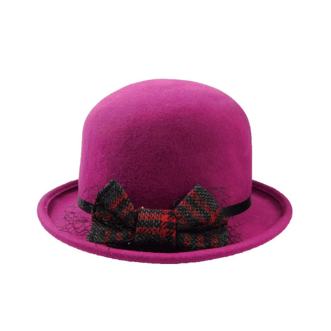 Bowler with Bow and Net -Fuchsia