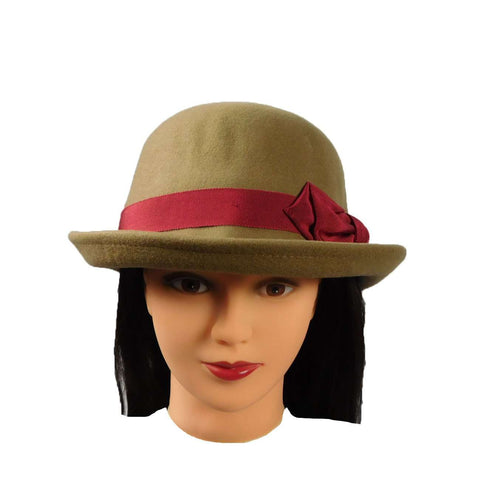 Bowler with Red Satin Bow