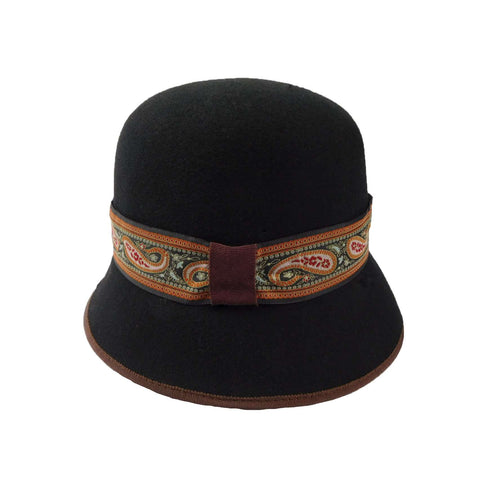 Black Wool Cloche with Paisley Band