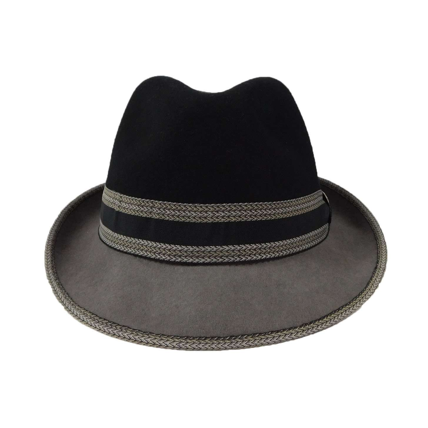 Two-Tone Wool Fedora-Black - SetarTrading Hats