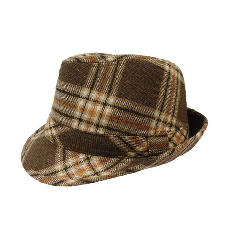 Plaid Wool Blend Fedora - Brown