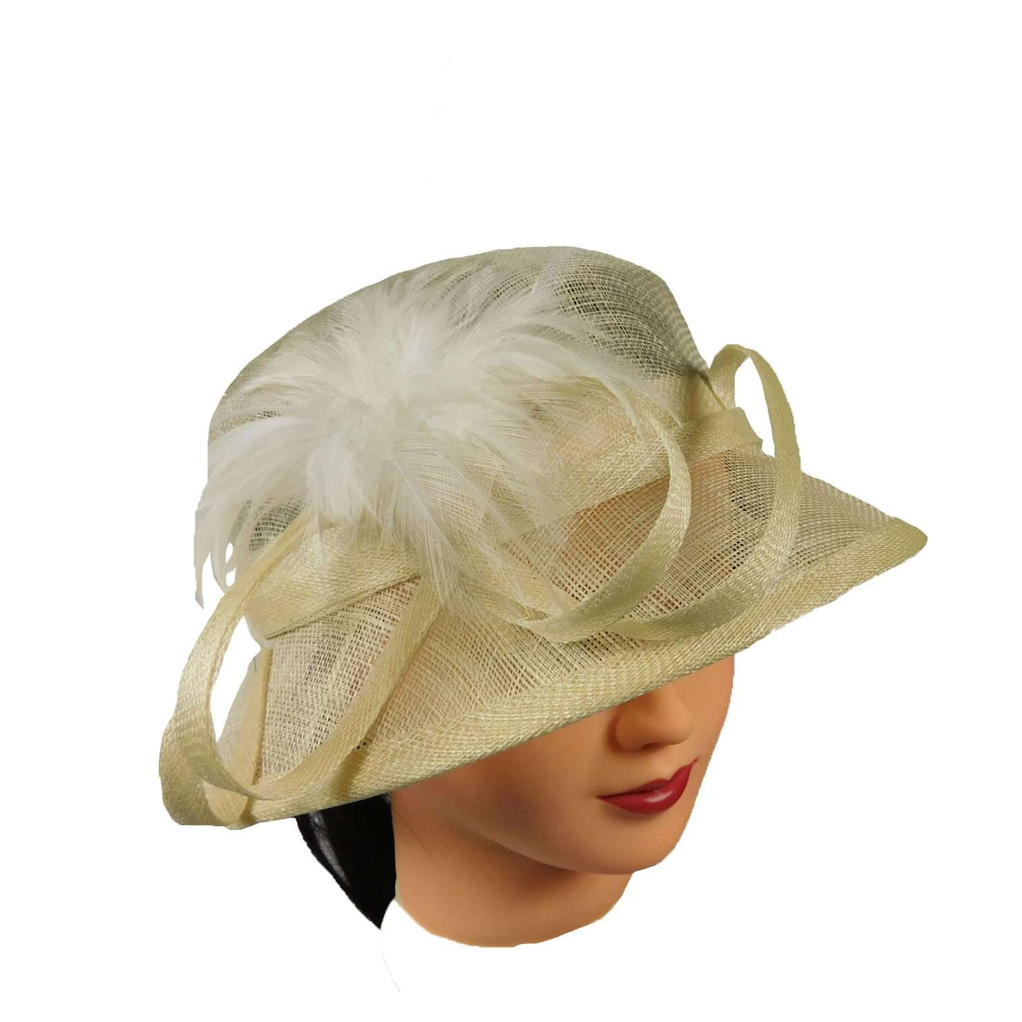 Sinamay Cloche with Feather -Ivory - SetarTrading Hats
