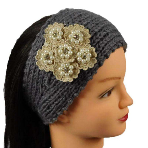 Knit Headband with Floral Embroidery - SetarTrading Hats