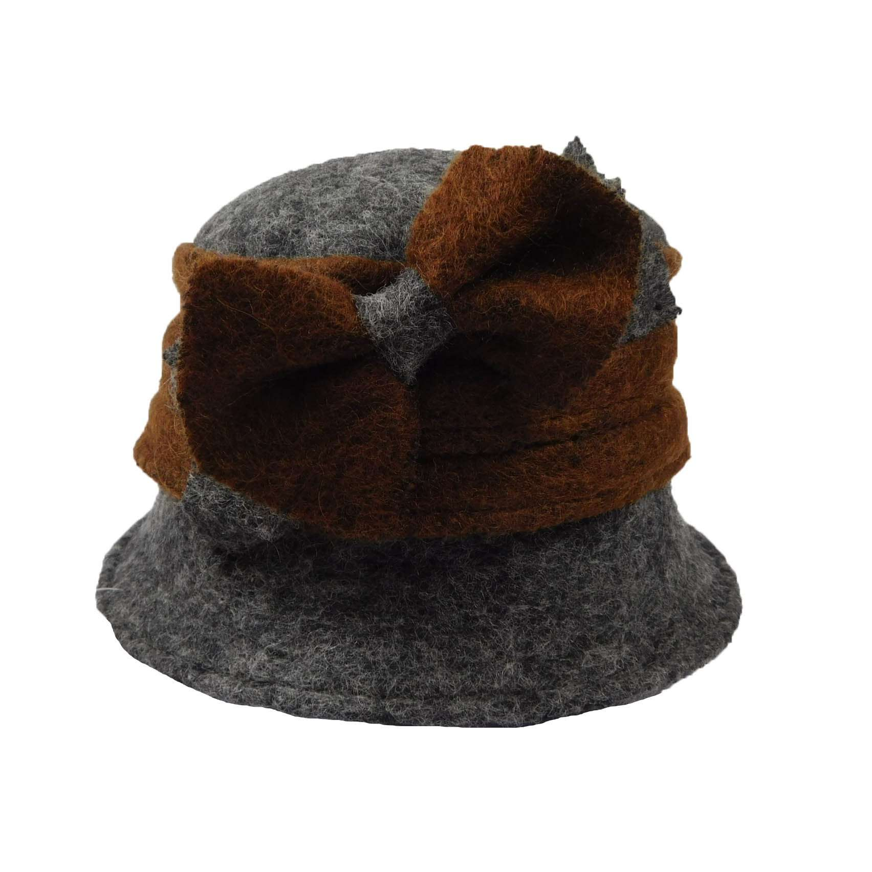 Little Two Tone Cloche with Bow - SetarTrading Hats