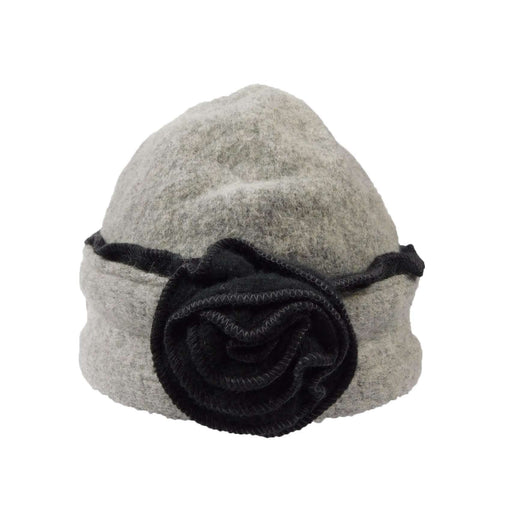Boiled Wool Beanie with Rose - SetarTrading Hats