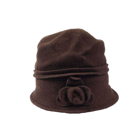 Chocolate Brown Beanie with Rose