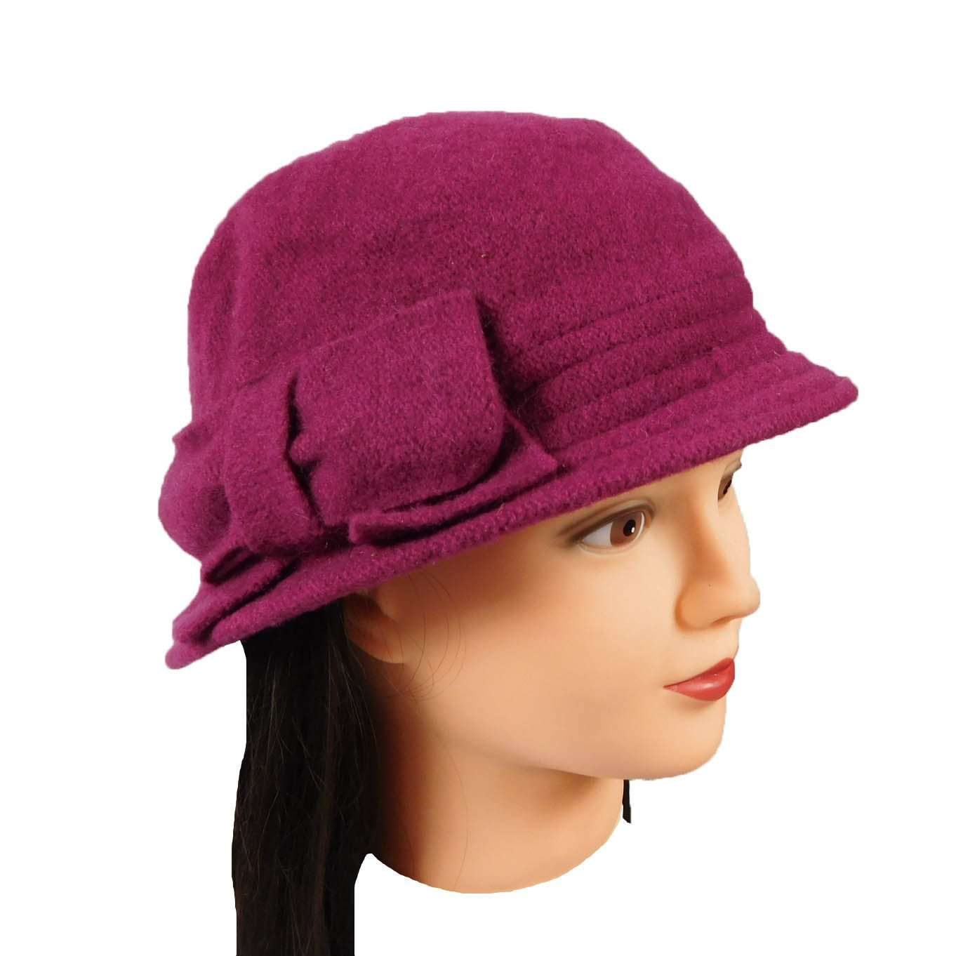 Boiled Wool Fuchsia Beanie with Bow by JSA for Women - SetarTrading Hats