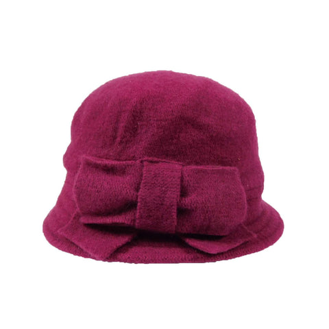 Boiled Wool Fuchsia Beanie with Bow by JSA for Women