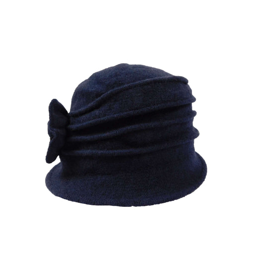 Navy Boiled Wool Pleated Beanie - SetarTrading Hats
