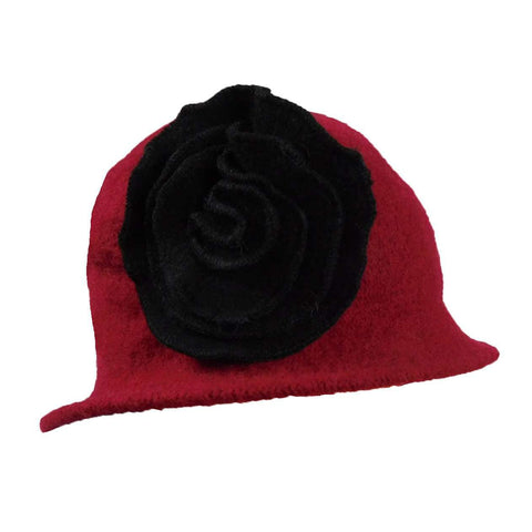 Red Cloche with Black Rose