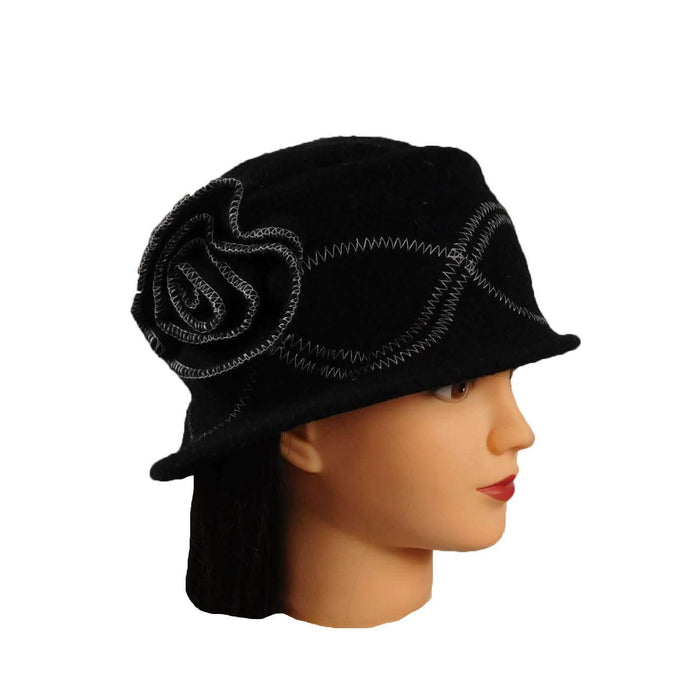 Black Beanie with Flower - SetarTrading Hats