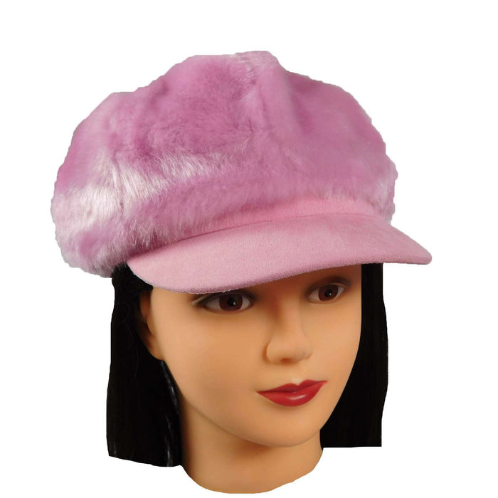 Pink Fur Newsboy Cap - SetarTrading Hats