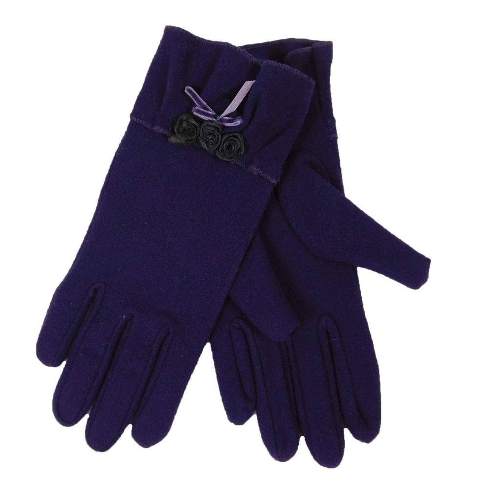 Purple Gloves with Roses - SetarTrading Hats
