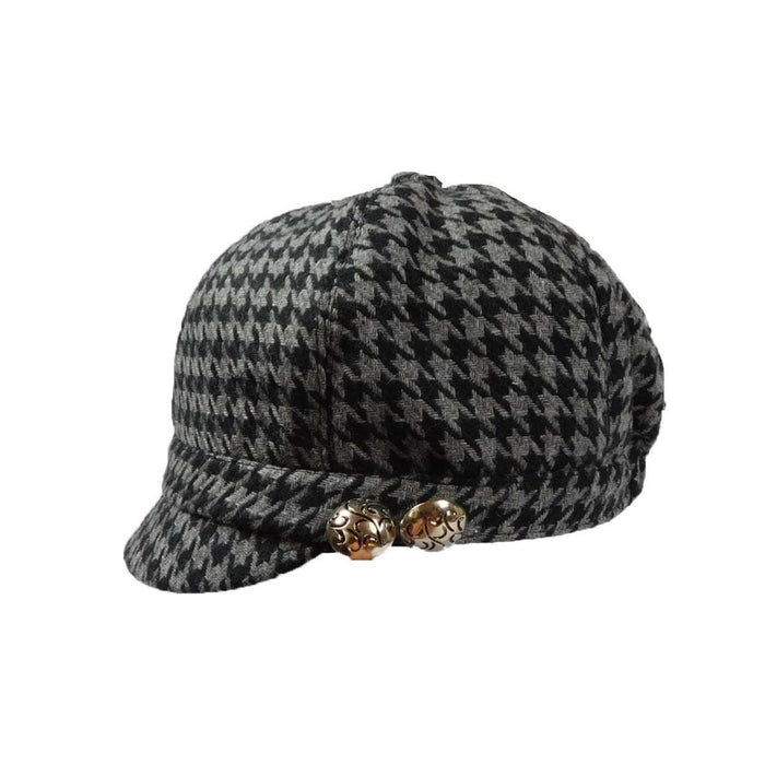Black and Grey Houndstooth Cap - SetarTrading Hats