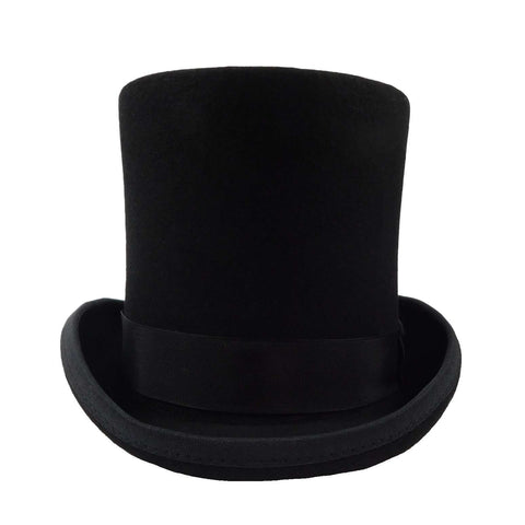 Tall Wool Felt Top Hat with Satin Lining