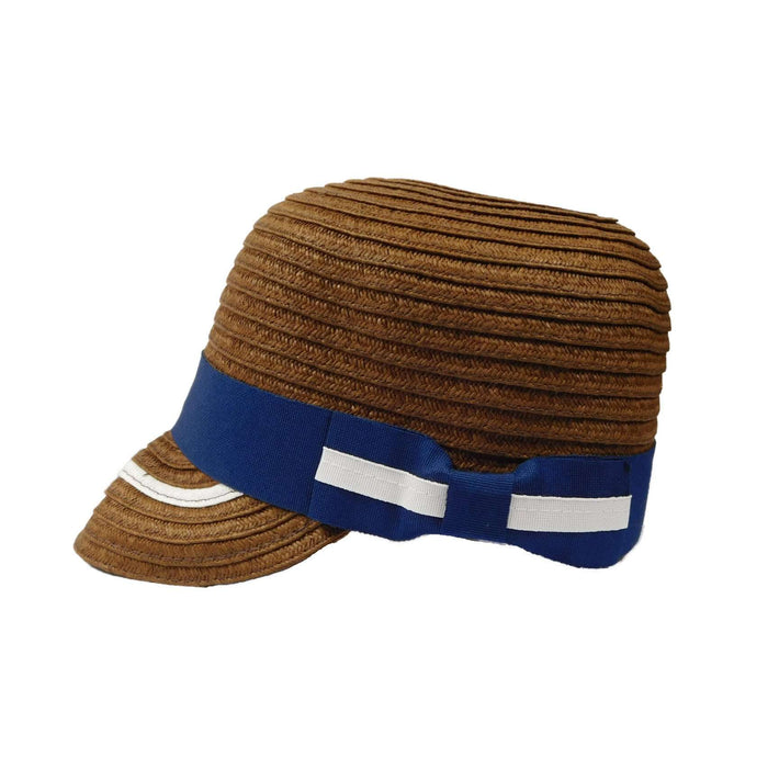 Small Straw Brim Cap with Ribbon Band and Bow by JSA for Women - SetarTrading Hats