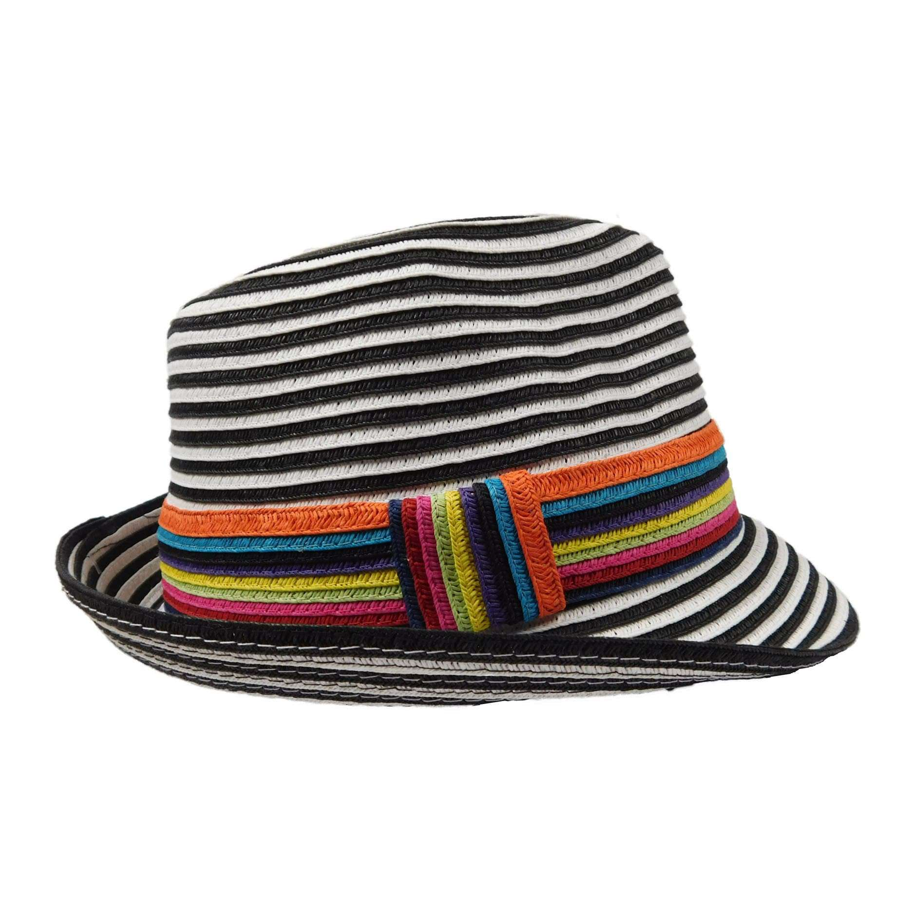 Black and White Striped Summer Fedora by JSA for Women - SetarTrading Hats