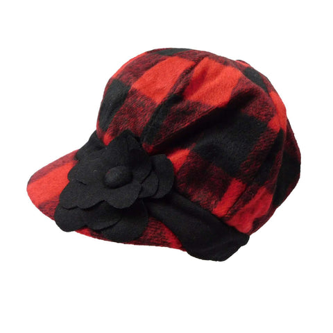 Plaid Wool Fleece Newsboy Cap