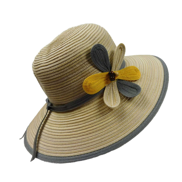 Big Brim Sun Hat with Flower Accent - SetarTrading Hats