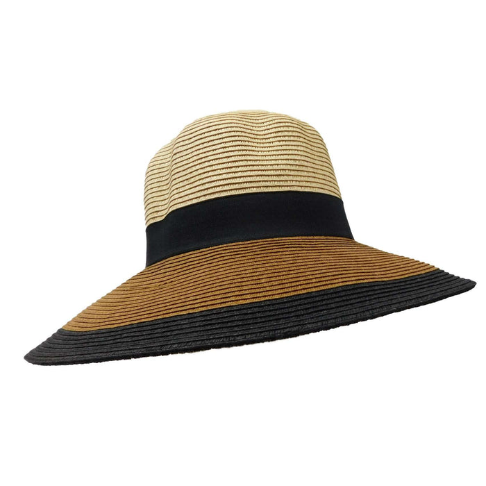 Three Tone Straw Floppy Hat - SetarTrading Hats